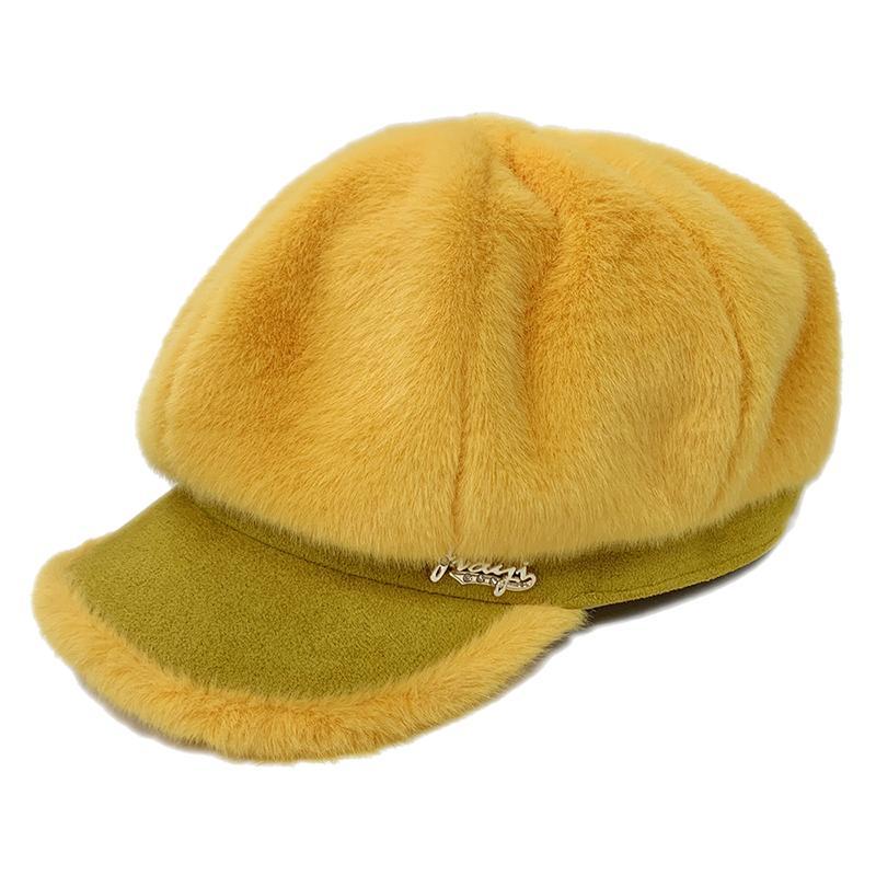 Искусственного Меха Плюшевые Корея Восьмиугольная Кепка Берет Женщины Шляпа Осень Зима Женщины Газетчик Шапочка Шляпа Женщины