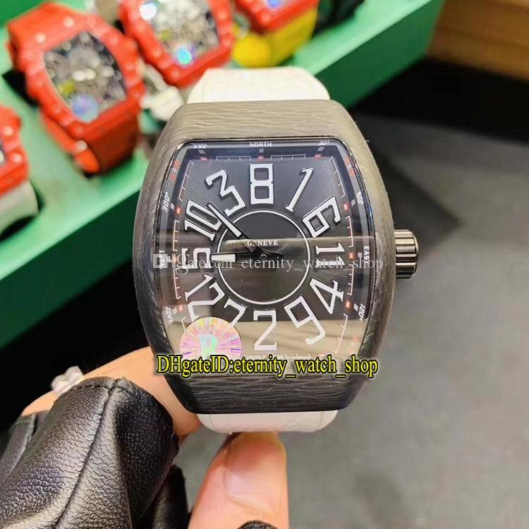 R Limit version MEN'S COLLECTION Vanguard Crazy Jump Series Carbon Fibre Case Japan Miyota Automatic Mens Watch White Leather Sport Watches