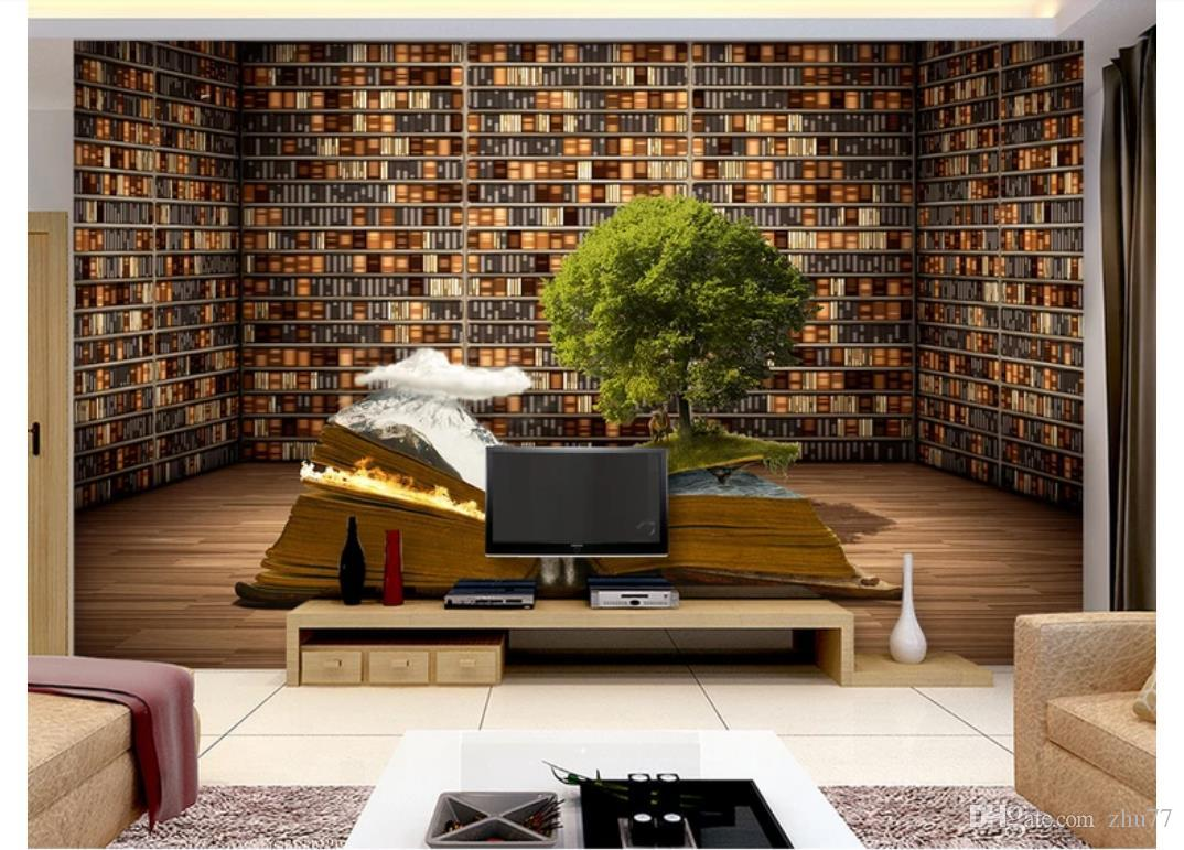 3D Wallpaper Custom Photo Silk Mural Wall Paper Creative Book Bookshelf  Living Room Study TV Sofa Background Mural Wall Stickers Decoration Flowers  ...