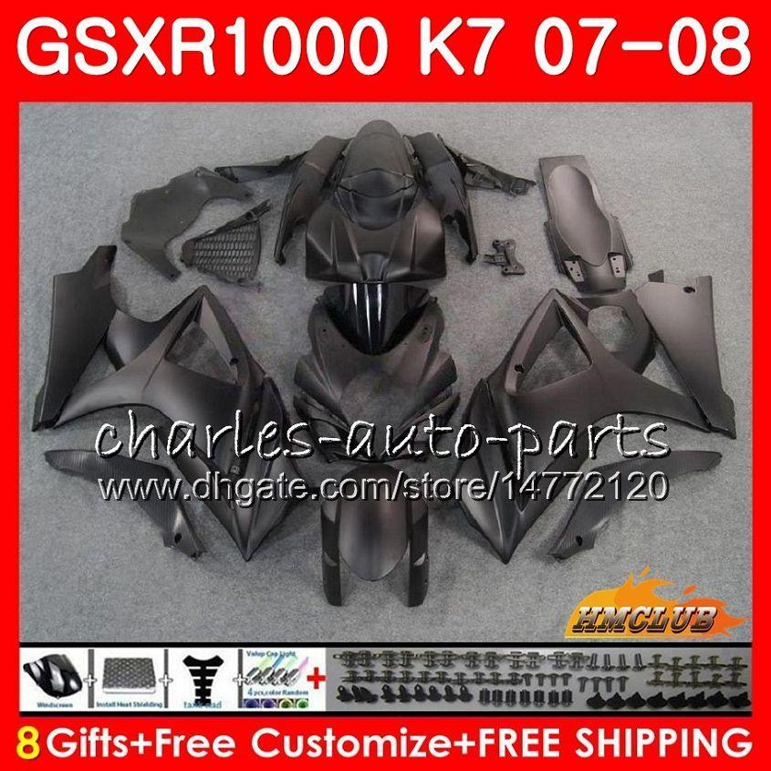 Carrosserie voor SUZUKI GSXR-1000 GSXR1000 2007 2008 07 08 Matter Black Hot Bodys 12HC.20 GSX R1000 GSX-R1000 K7 GSXR 1000 07 08 ABS-kachelset
