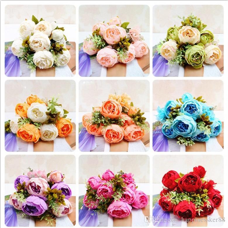 13 헤드 / Bouque 크리스마스 인공 꽃 실크 꽃 유럽 가을 생생한 모란 가짜 잎 웨딩 홈 파티 장식