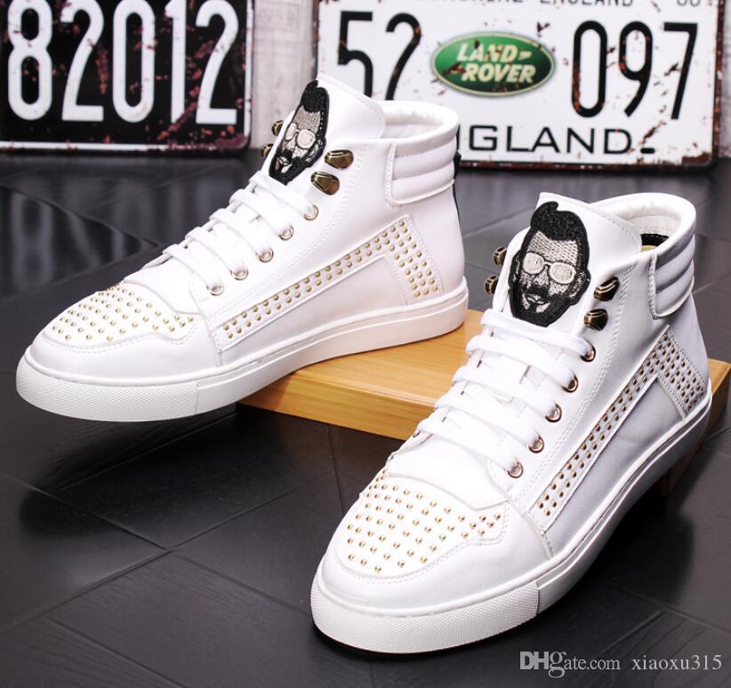 Chegada Nova Homens Flat White calçados casuais Trending sapatilhas do desenhista Plataforma homem lazer couro macio sapatos Zapatos hombre GB67