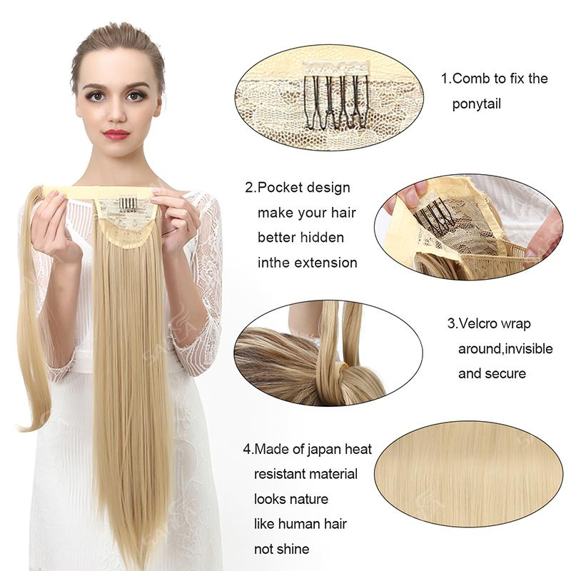 Straight Ponytail Hair Extension Clip in Fake Wig Hairpiece Synthetic Blonde Wrap Around Pigtail Long Smooth Overhead Pony Tail