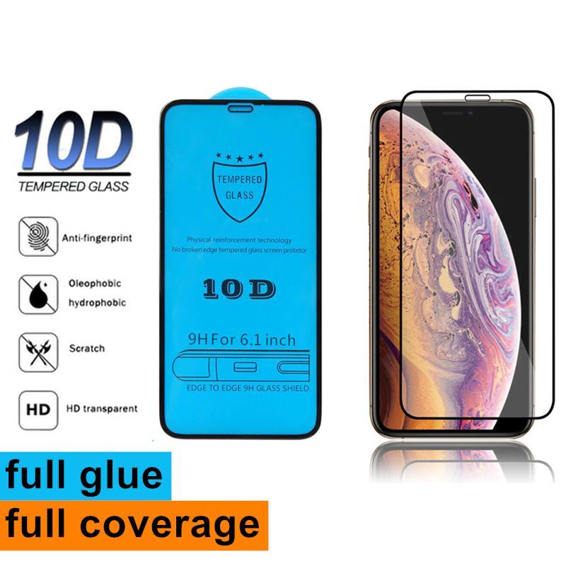 جديد iPhone 12 12Pro 12Proxax ملء الشاشة الغراء 10d غطاء حامي الشاشة 9H الزجاج المقسى حامي الشاشة ل فون x 6 7 8 زائد xs max
