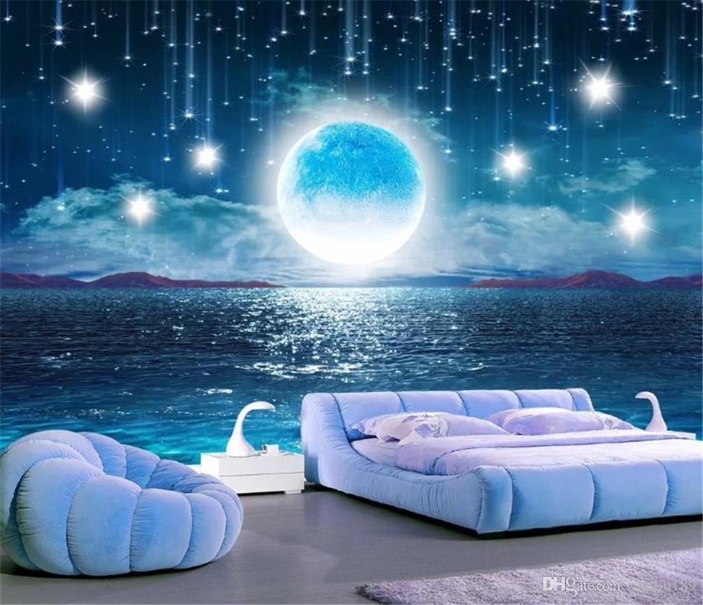 3d Wallpaper Mural Water Rising Moonlight Aesthetic Night Starry