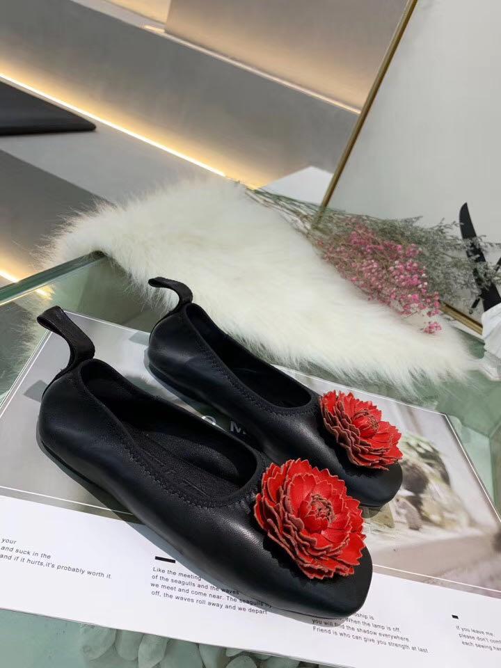 2020033101 34/40 nero bianco rosso fiore pecore pelle pelle vera pelle agnello morbido scarpe scarpe ballerine