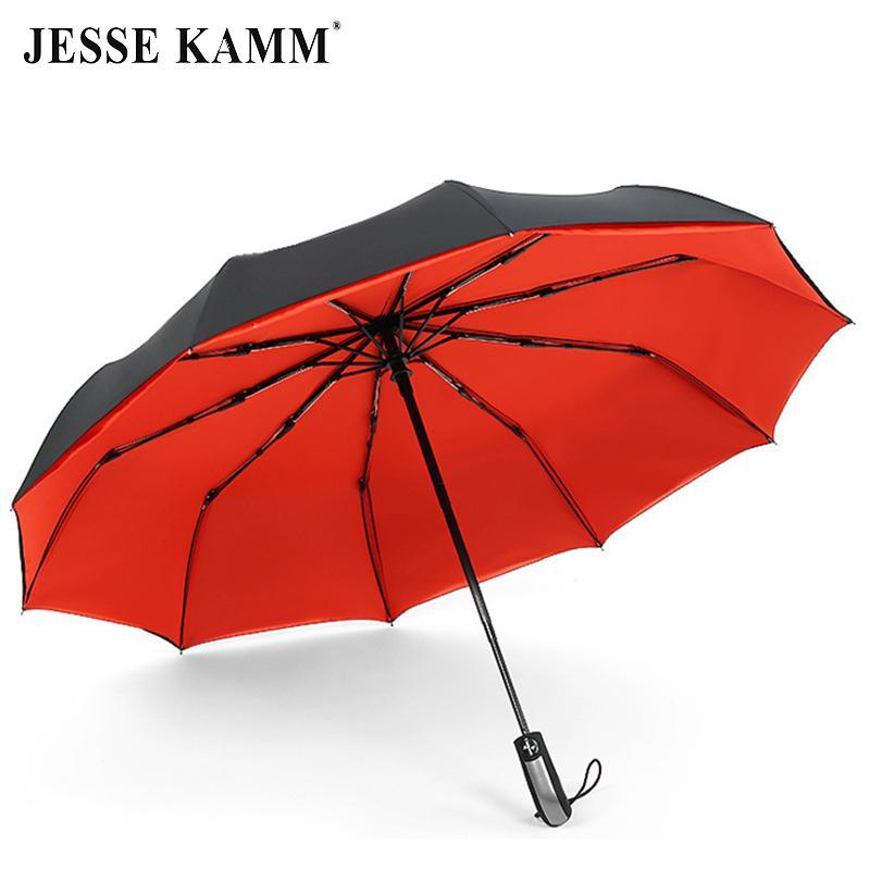 Jesse Kamm 완전 자동 이중 캐노피 190t 명주 우산 3 접기 10 갈비뼈 유리 섬유 강한 바람막이 비 여성 남성 Q190603
