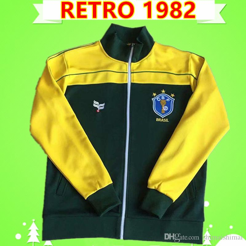 1982 Brazil retro Brasil tracksuit soccer Jersey jogging suits football shirt training uniforms vintage survetemen adult jacket