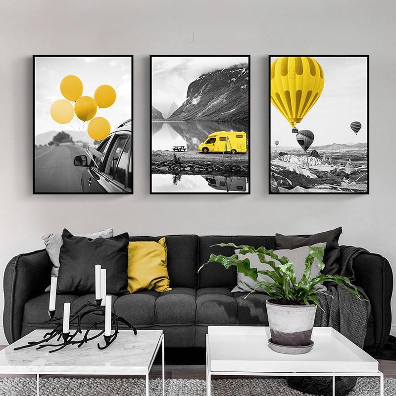 Salon Ev Dekorasyon yok Frame Wall Art Pictures boyama Modern Posterler ve Baskılar Sarı balon sahne tuval