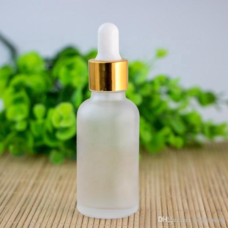 Fosco claro vidro vazio Dropper Bottles 30ml para garrafas de óleo essencial líquido e 30 ml com preto Prata Cap E Vidro Pipeta