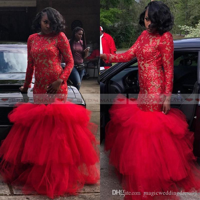 Black Girls Mermaid Evening Dresses Layers Tulle African Formal Party Gowns 2019 Long Sleeve Red Lace Dubai Arabic Prom Dress Vestidos