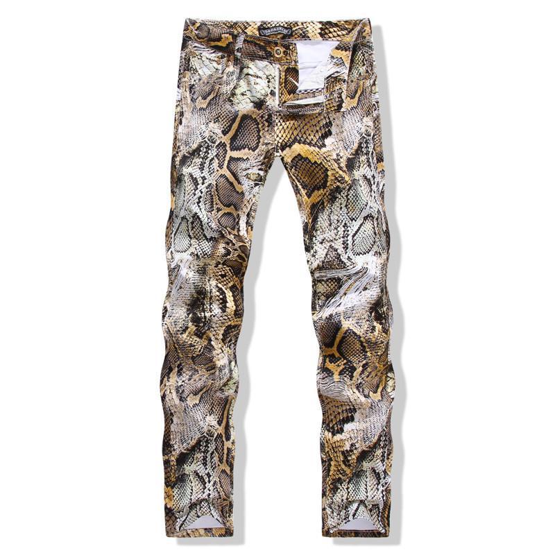 Para hombre de la piel de serpiente de impresión de Camoflague del diseñador original Delgado Hip Hop Roca pantalones vaqueros de los hombres Vaqueros Streetwear fz3938