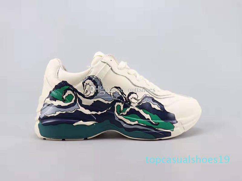 (Mit Kasten) kostenloser Versand Rhyton Freizeitschuhe mit Wellen-Qualitäts-Mans Womans Designer Sneaker t19