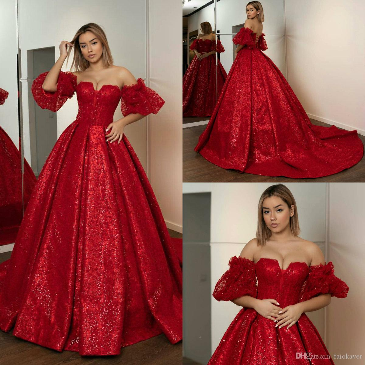 2019 Gorgeous Ball Gown Prom Dresses Sweetheart Short Sleeves Sweep Train Sequined Evening Dress Party Wear Custom Made Formal Gowns