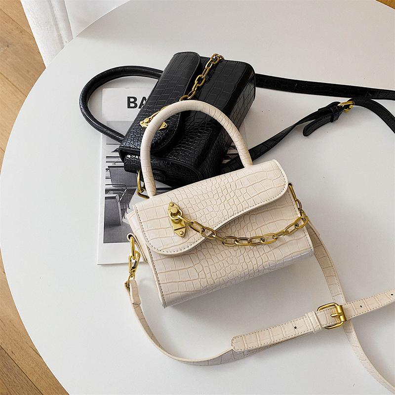 Original Mode Steinmuster Handtasche Elegante Kette Quadrat Tasche Umhängetasche Diagonale Breite 18cm Höhe 12cm Dicke 8cm