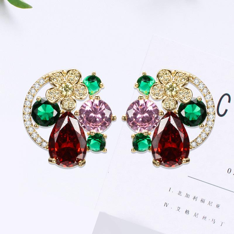 Fashion- Cubic Zirconia Earrings Silver 925 Jewelry For Women Beautiful Flower Gem Charm Femlae Stud Earing Fashion Earrings Allergy Free