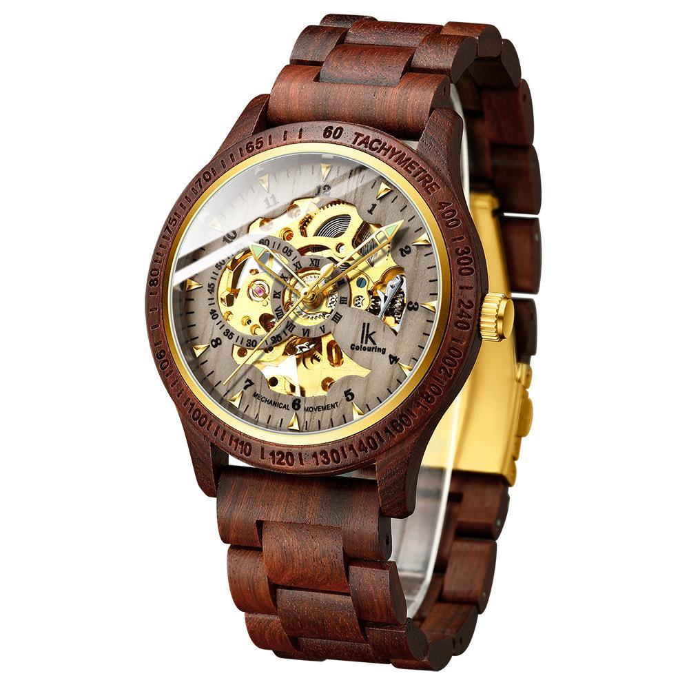홍익 착색 목재 시계 남성 자동 기계 시계 방수 패션 나무 대나무 대나무 표 발광 컷 아웃