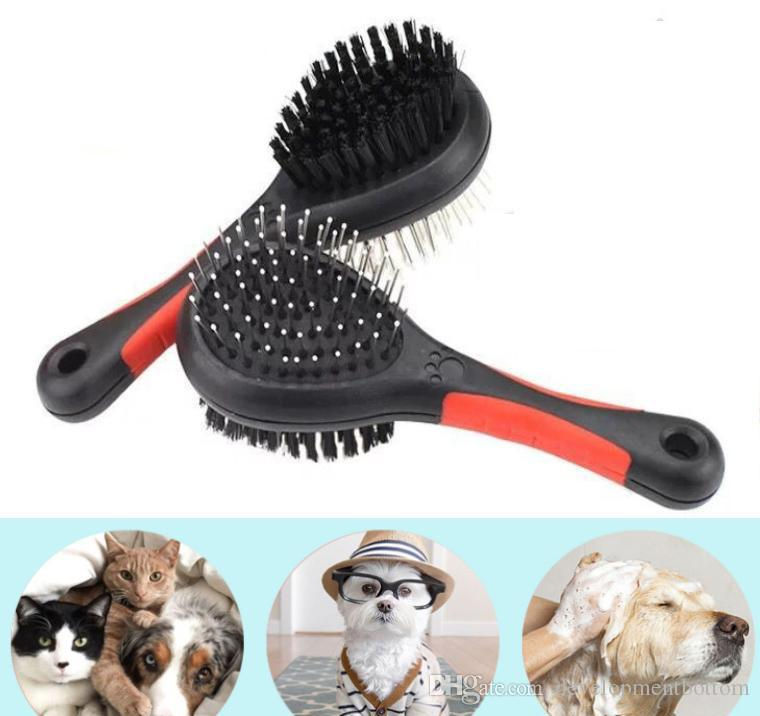 Double-Side Dog Hair Brush Pet Cat Grooming Cleaning Tools Plastic Massage Comb With Needle DHL SHip