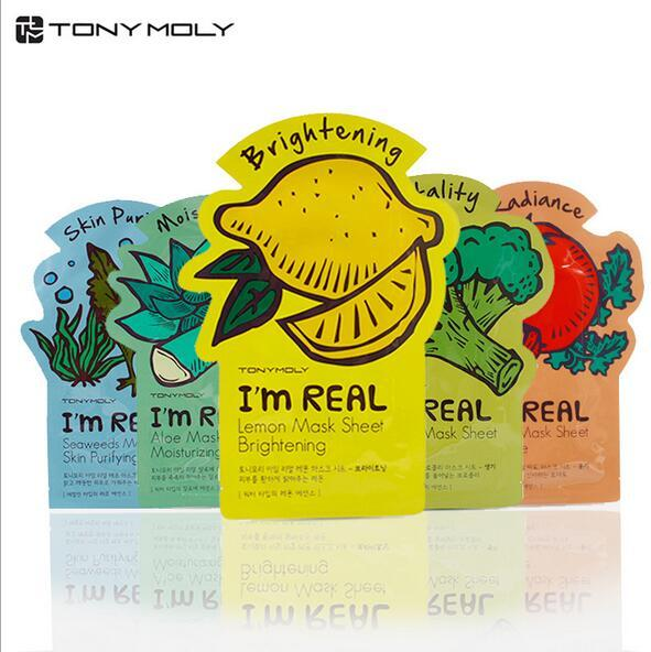 Tonymoly I'm REAL Facial Mask Sheet Korea Face Care Moisturizing Skin Care Aloe Vera Powder Face Mask DHL Free Shipping