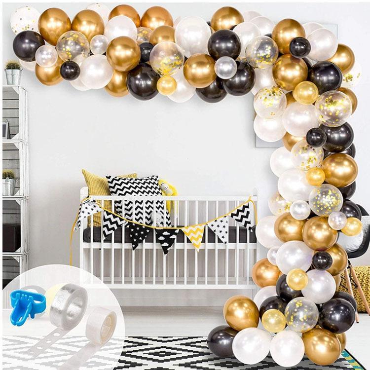 Bebek partisi doğum günü partisi dekor suppies için 120 adet Balon Garland Arch Kiti Siyah Beyaz Altın Lateks hava Balonlar Paketi. T200624