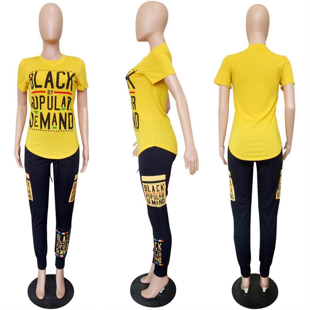 Women Summer Tracksuit Black Letter T-shirt + Pants 2 Piece Sportswear Joggers Street Fitness Set Short SLeeve Outfit S-3XL Plus Size 2019
