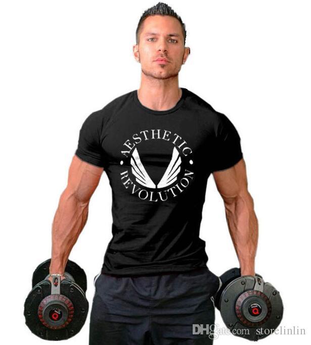 2019 palestra Uomo sport all'aria aperta fitness cerchio colletto in cotone a maniche corte T-shirt modello ala
