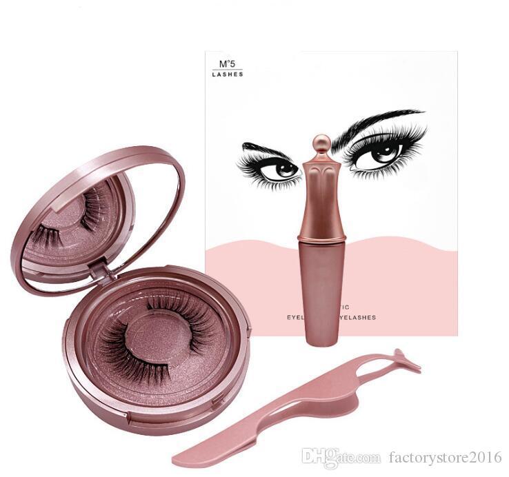 Magnetischer flüssiger Eyeliner Fünf magnetische falsche Wimpern-Pinzetten-Satz-Magnet-falsche Wimpern-Kleber geben bilden Werkzeuge frei