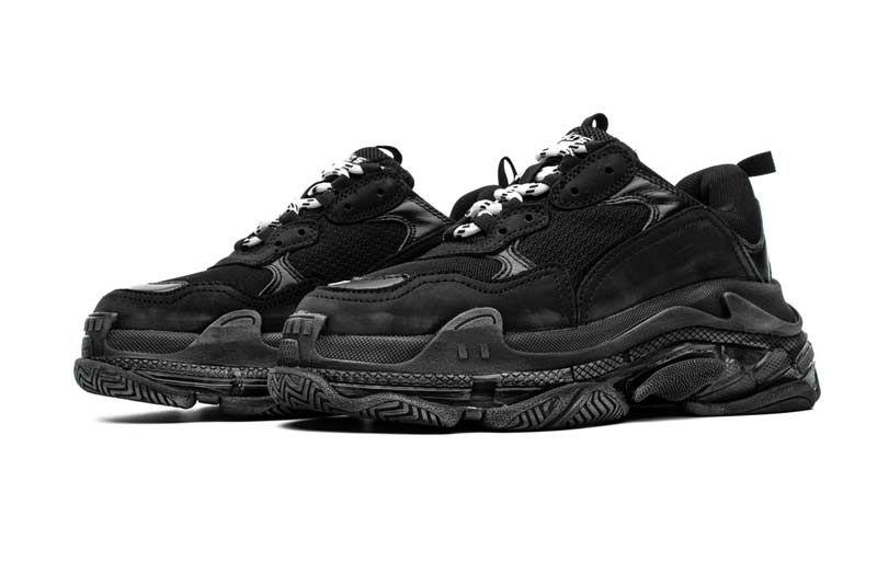 (가방 포함) 최고의 품질 고대 모든 블랙 트리플 S 운동화 에어 쿠션 신발 남자 여자 운동화 테니스 스포츠 신발 크기 36-45