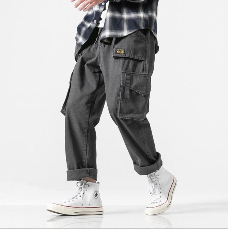 2020 High Street Kaykay Büyük Cep Pantolon Tide Marka Hallen Alt Pantolon Rahat kıyafet Kore Moda Ins Kargo Pantolon Erkekler