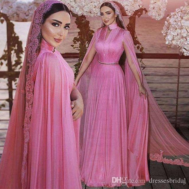 Modest Fushcia Chiffon Muslim Formal Evening Dresses With Wrap High Neck Plus Size Sweep Train Bridal Reception Prom Party Gowns 2019 Cheap