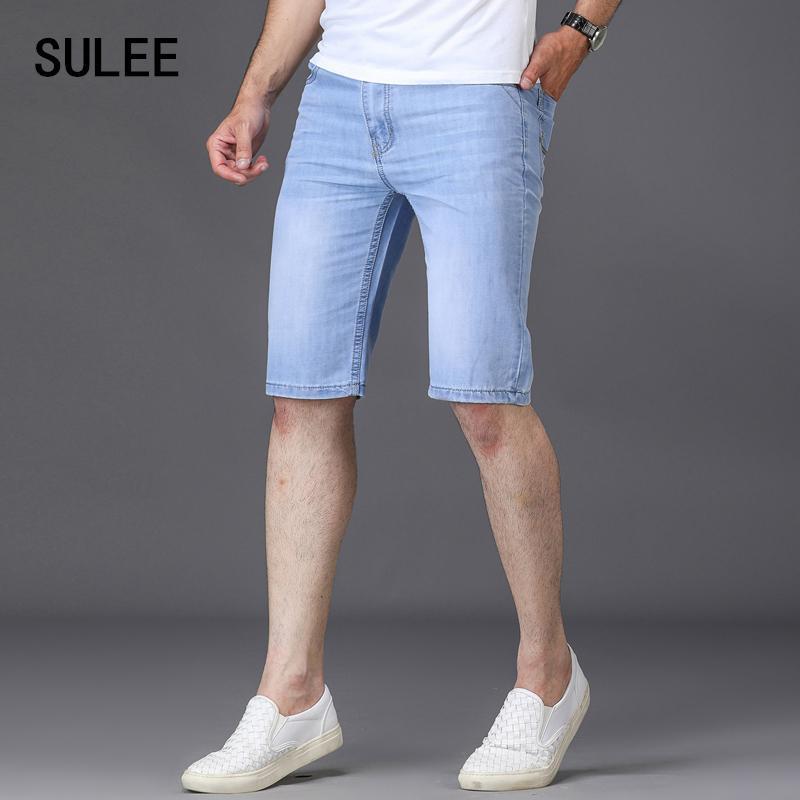 SULEE Marke 2019 Männer Jeans-Shorts gute Qualität kurzer Jeans Men Cotton Solide gerade kurze Jeans Male Blue Leger