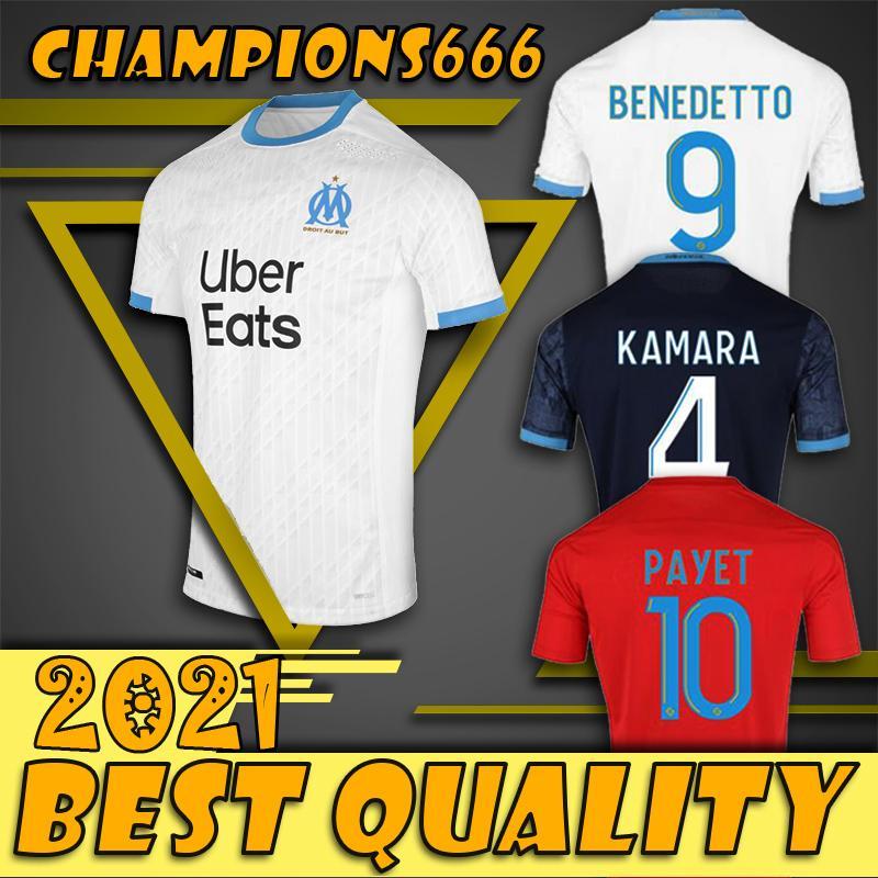 20 21 Olympique de Marseille Maillot de football Strootman Maillot de Foot PAYET L.GUSTAVO THAUVIN LOIN Troisième 20 21 chemises Marseille noir