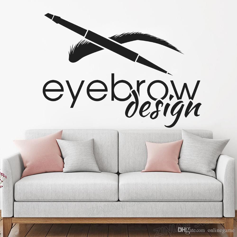 Eyebrow Design Beauty Salon Logotype Brow Art Wall Stickers Removable Wall Decor Mural Eyelash Make Up Wall Decal for Girls