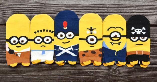 venta al por mayor !! 12pcs calcetines de dibujos animados de primavera calcetín divertido lindo Despicable me calcetines cortos de algodón SM887