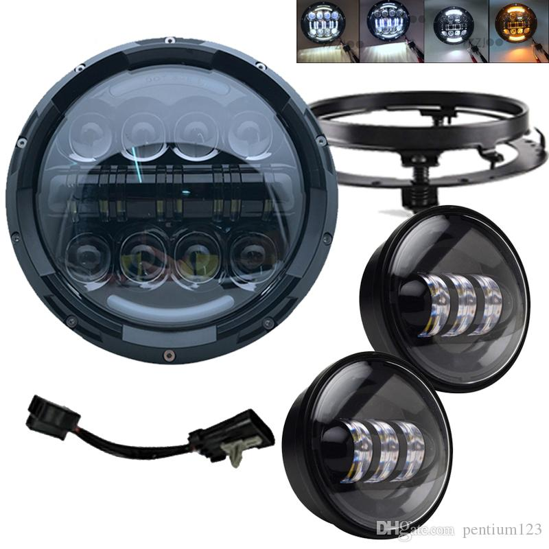 """Motorcycle 7"""" LED light Headlight with Halo Ring Headlamp+ 4.5"""" 4 1/2inch Passing Lights For Road King Classic FLHRC"""
