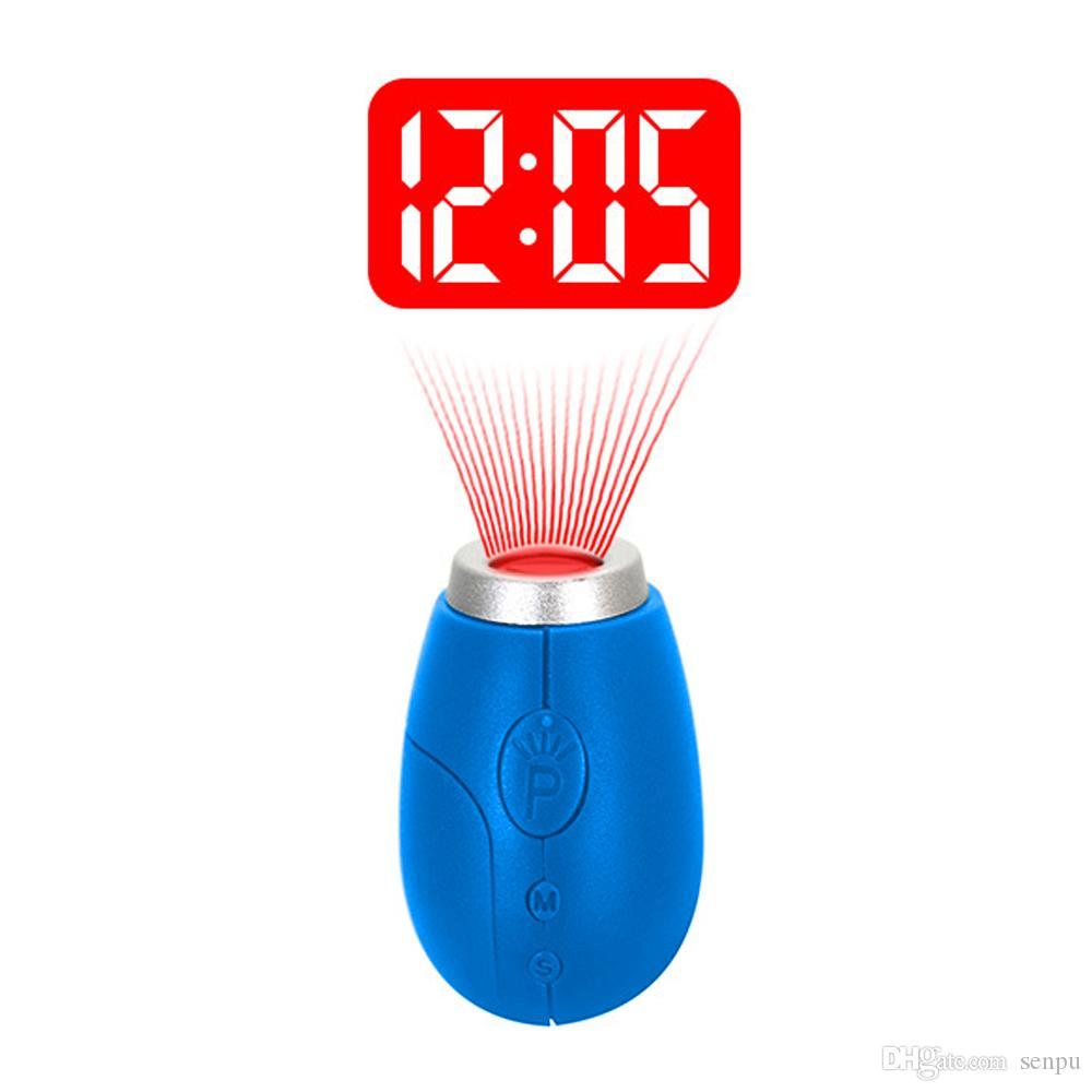 BRELONG Digital projection clock key ring Mini LCD projection clock Night Light Magic Projector Clock Red Blue Black