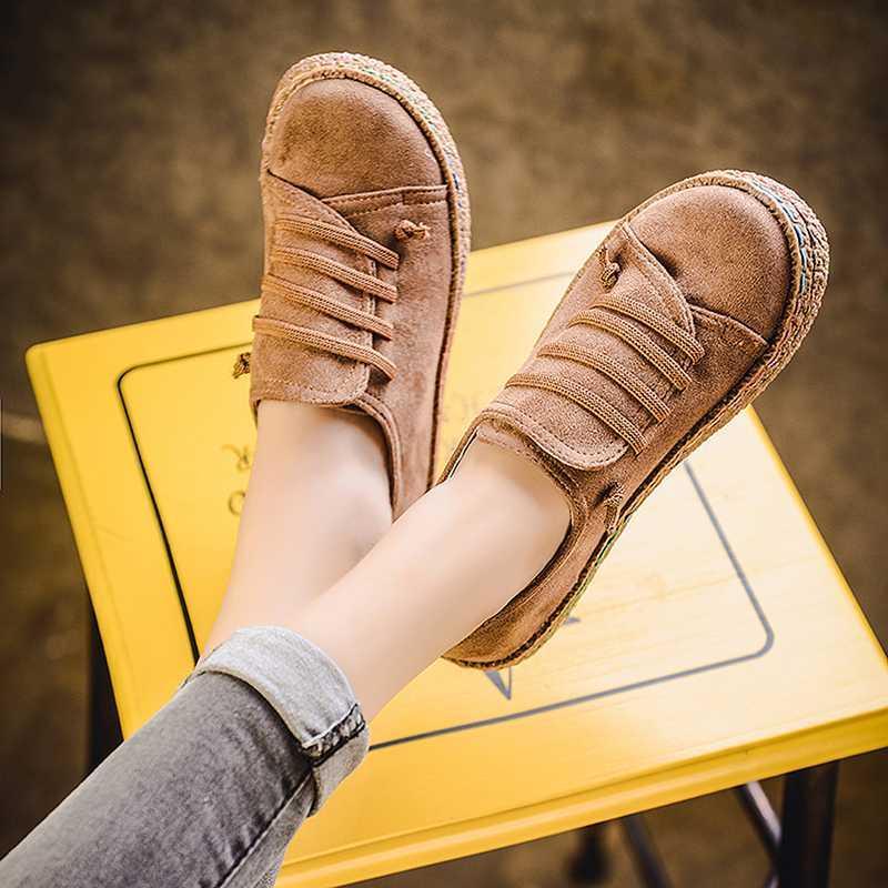 Toe Nova Primavera Mulheres Flats Shoes Loafers Rodada Ampla Shallow Deslizamento-em calçados casuais Lady Flats Oxford para mulheres