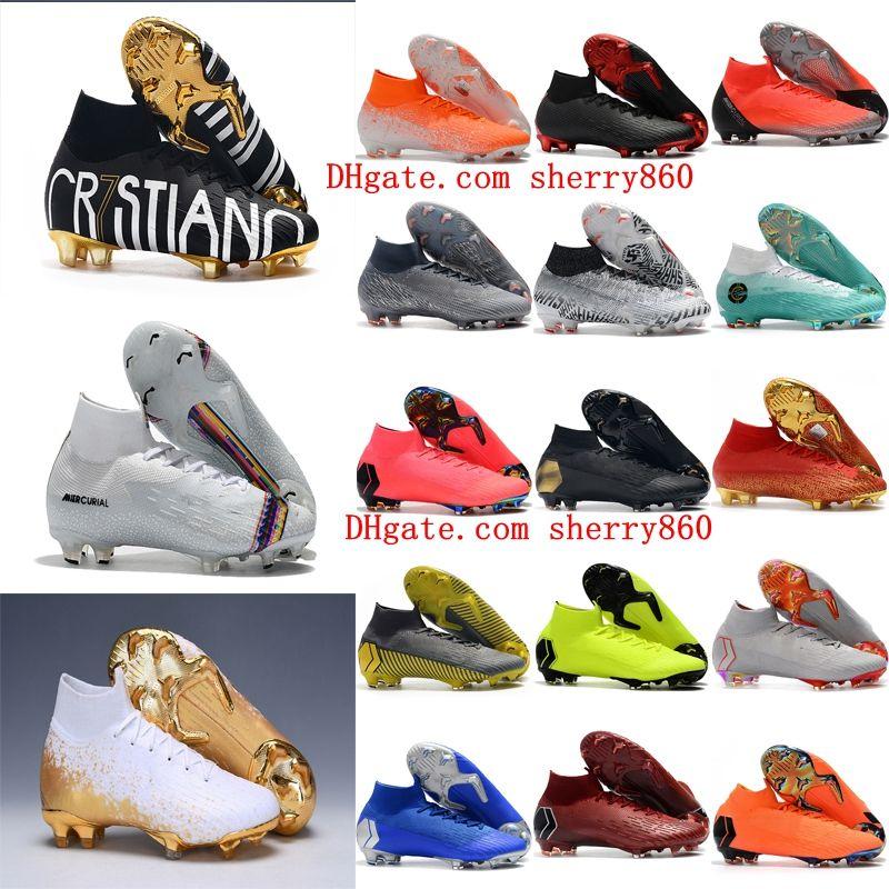 2019 mens soccer shoes Superfly 6 Elite CR7 SE FG soccer cleats Crampons de football boots Mercurial Superfly VI 360 Neymar Ronaldo
