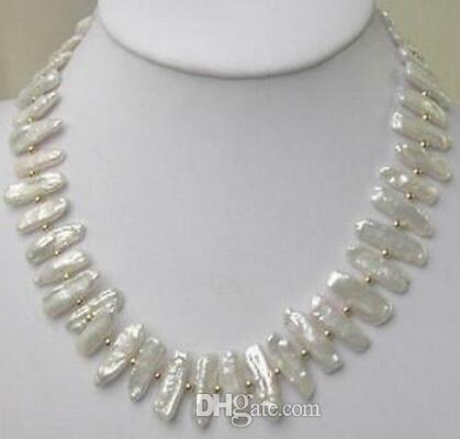 dom mulheres jóias palavra 17inch OURO FECHO ENORME Charming biwa branca culta colar de pérolas de 17,5 polegadas
