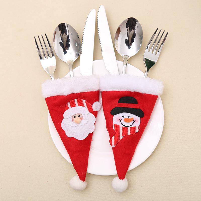 6pcs / lot Weihnachtsdekoration für Haus Weihnachten Silber Halter Mini-Weihnachtsbaum Weihnachtsmann-Hut Navidad Natal Neujahr