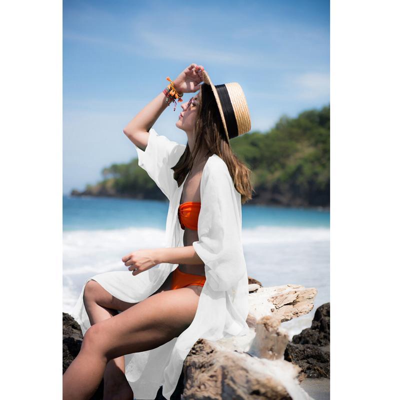Verano gasa de las mujeres del kimono de la blusa de camisas Beach Cardigan Cover Up Sólido Blanco Negro Verde flojo Wrap ropa de playa Larga