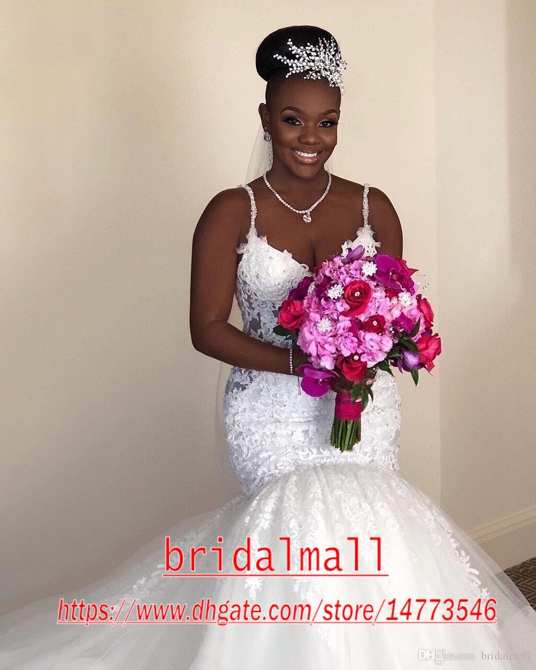 Spalline Abiti da sposa a sirena taglie forti 2020 Eleganti applicazioni in pizzo Abito da sposa sudafricano Abiti da sposa Abiti da sposa