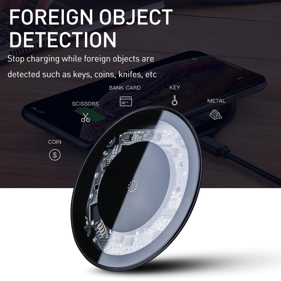 10w sem fio Carregador Para Iphone X Xs Max Xr 8 Plus Samsung S10 S9 Nota 9 8 Mini Carregador Rápido Qi carregamento sem fio Pad