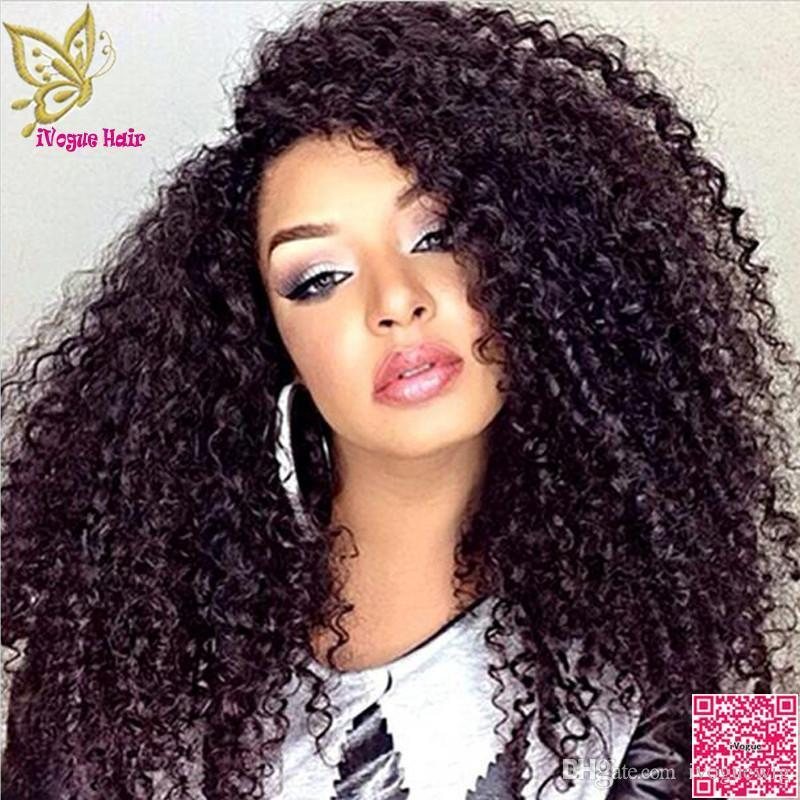 H brésilien 180 Densité de dentelle perruques de cheveux humains bouclés avant de dentelle non transformé Cheveux perruque Afro Kinky Curly