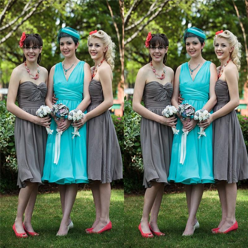 Short Knee Length Sweetheart and V-neck Chiffon Aline Bridesmaid Dresses Maid Of Honor Dresses Custom Made