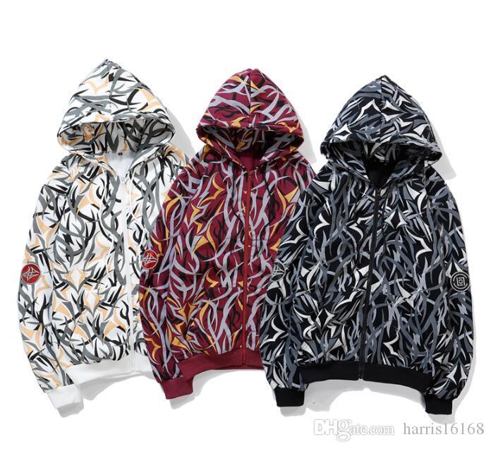 Avrupa ve Amerikan moda markası sweater19 erkek kapüşonlu sokak spor gevşek hiphop dikenler hırka ceket