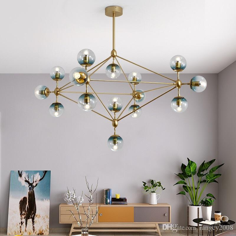 Nordic Studio Art Gold Led Chandelier Magic Ball DNA Light Glass Globe Bedroom Light Coffee Shop Light With E27 Led Bulbs