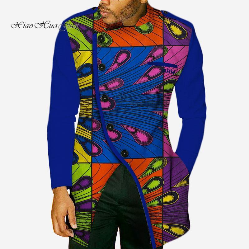 2019 nuova moda autunno autunno cera africana stampa manica lunga manica lunga per uomo bazin ricche camicie dashiki abbigliamento stile africano WYN49