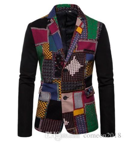 Tasarımcı Erkek Afrika Etnik Tarzı Baskılı Blazers Patchwork Ceketler erkek Sahne Ceket Zarif Düğün erkek Blazer Veste Kostüm Homme
