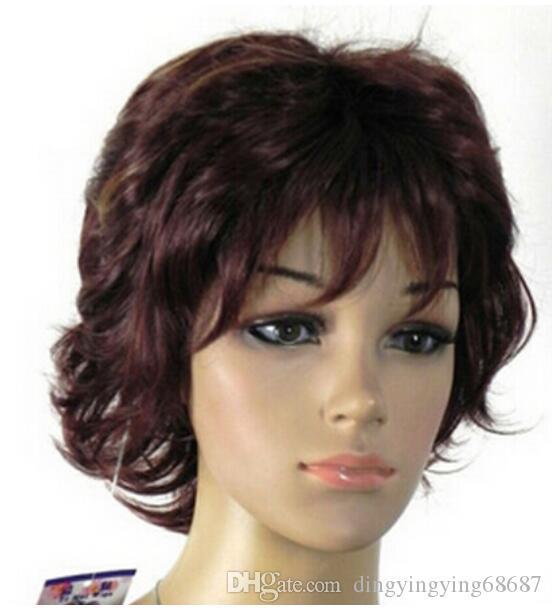 무료 배송 + ++ 핫 섹시한 짧은 섹시한 짧은 갈색 곱슬 머리 여자의 레이디의 머리 가발 가발 판매